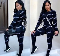 Wholesale hot yoga pants resale online - Hot letter print women tracksuits fashion Pieces Set Outwear Sweatsuit Women s Casual Long Sleeve Warm Hooded Long Pants