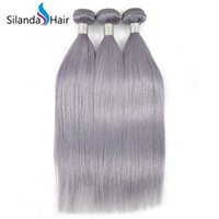 Wholesale Colored Grey Straight Hair Weft Weave Remy Human Hair Bundles