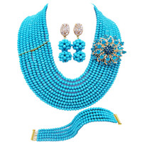 Wholesale aqua blue jewelry sets resale online - Trendy Aqua Blue African Crystal Beads Anniversary Gift Necklace Jewelry Sets for Women C DS