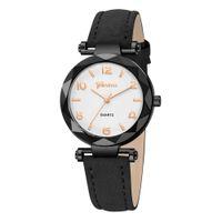 арабские модные платья для женщин оптовых-Женские часы Luxury Arabic Numeral Женева Модные платья Женские кожаные кварцевые часы Женские наручные часы Montres Femme 618