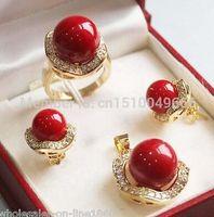 brincos de colar de coral vermelho venda por atacado-10mm 14mm Coral Vermelho Sul mar Shell Brincos de Pérola Anel Conjunto de Pingente de jóias gem CONJUNTOS de Quartzo De Prata pedra Cristal mulheres