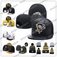 ingrosso cappelli neri gialli di snapback-Cappelli snapback ricamati berretti a visiera ricamati berretti da baseball in maglia di hockey su ghiaccio di Pittsburgh Penguins Cappelli neri cuciti a punto bianco