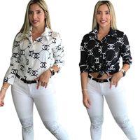chemise rosa preto venda por atacado-Navio livre 2019 Mulheres Moda Carta Imprimir Turn-Down Collar Shirt Casual Manga Comprida Slim Shirt Tops XXL