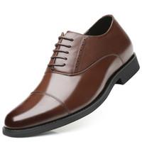aumentar la altura del precio de los zapatos al por mayor-Precio barato Nuevo Ascensor invisible Zapatos de vestir formales de los hombres Zapatos Oxford de cuero Altura creciente 7 cm para el banquete de boda