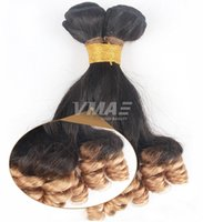 Wholesale brazilian virgin hair extentions resale online - VMAE unprocessed ombre b anuty Funmi hair bouncy curls wave Brazilian virgin human hair bundle weaves Hair extentions