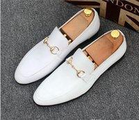 düğme g toptan satış-Marka Tasarımcısı Marka Erkek Casual Flats Ayakkabı Dana Deri Slip-on Mocassin Metal Düğme erkek Takım Elbise Ayakkabı Zapatillas Boyutu 38-45
