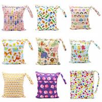 bébé sans couche achat en gros de-30 * 36cm enfants double fermeture éclair des sacs à couches imprimer sacs à couches imperméables sac à linge pour le tissu de couches pour bébés Livraison gratuite