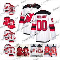 eishockey-trikot-marken groihandel-Kundenspezifisches New-Jersey Teufel-neues Marke irgendeine Zahl irgendein Name rotes Hauptweiß genähtes # 9 Hall Hischier Brodeur Eishockey Jersey S-60
