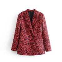 jaqueta de leopardo vermelho venda por atacado-Mulheres Animal Imprimir Leopardo Blazer Vermelho Casaco Casaco Double Breasted Com Bolsos Manga Comprida Outerwear Senhora Do Escritório Elegante Desgaste