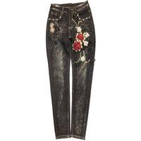 ingrosso dimensione 26 jeans skinny donna-plus size 26-32! primavera autunno vita alta personalità della moda fiore che borda le donne stretch jeans attillati