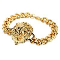 homens pulseira leão venda por atacado-Hip Hop Prata Cor de Ouro de Alta Qualidade Jóias Para Homens de Natal Cool Rock Cabeça de Leão Pulseira Fresco Moda JM003