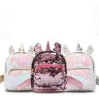sevimli mini sırt çantaları toptan satış-Kadın Pul unicorn Sırt Çantası Sevimli mini karikatür Omuz Çantası Çocuk Kız Payetli Seyahat Okul Açık Sırt Çantası AAA1691