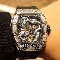 relógio de discagem preta china venda por atacado-Nova RM-57 057 Diamond Bezel Jackie Chan Esqueleto 3D Prata China Dragão Totem Black Dial Miyota Automático Mens Watch Rubber Timezonewatch 14