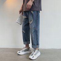 herren beiläufige baggy jeans großhandel-2019 Sommer Herren Weite Hosen Baggy Homme Wash Jeans Herren Blau Männlich Holes Casual Hosen Biker Denim Classic Hosen 28-40