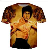 3d gracioso al por mayor-Novedad Streetwear Hombre Mujer Estilo de Verano Bruce Lee Divertido Impresión 3D Casual O-cuello Camiseta Tops Más Tamaño WQ0285