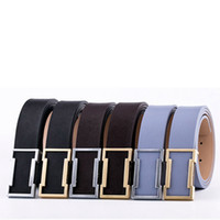 Wholesale metal waistband resale online - Fashion Men Leather Belts Classic Metal Smooth Buckle Waist Strap Outdoor Male Business Travel Waistband TTA1406