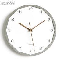 relojes de pared de madera rústica al por mayor-Emitdoog 12 pulgadas moderno creativo 3d de madera rústico reloj decorativo blanco interior reloj de pared de estilo europeo
