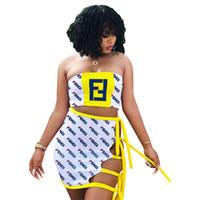 kadınlar için üst etek setleri toptan satış-FEN Kadınlar Iki Parçalı Elbise Yaz Straplez Tops Etekler 2 adet Giyim Seti Bandgae Takım Elbise