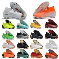 botas de fútbol para hombre talla 12 al por mayor-Mercurial Superfly VI 360 Elite FG KJ 6 XII 12 CR7 Ronaldo Neymar Hombres Mujeres Chicos Zapatos de fútbol Alto Fútbol Botas Tacos Tamaño 35-45