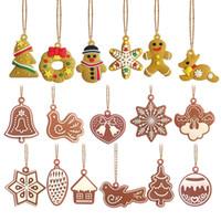 ingrosso pendenti d'oro d'oro-Pendente dell'albero di Natale Gingerbread Man Wind Chime Uccello Angelo albero di Natale appeso ornamento con corda oro PVC decorazioni del mestiere di Natale