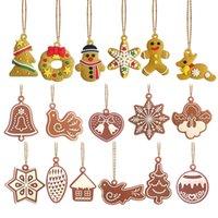 sinos de vento de anjo venda por atacado-Árvore de Natal Árvore de Natal Gingerbread Man Pendant Wind Chime anjo Pássaro do ornamento de suspensão com corda de ouro PVC Artesanato Decorações de Natal