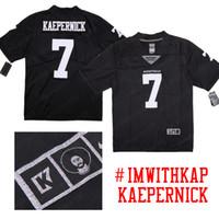 jerseys de futebol frete grátis venda por atacado-COLIN KAEPERNICK 7 IMWITHKAP K7 Logotipo Prata Edição Especial de Futebol Americano Preto Camisas Frete grátis Bens em estoque