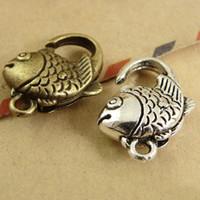 fecho da jóia do gancho de peixes venda por atacado-20 * 13 MM Retro lagosta fecho garra, coreano peixe jóias fechos para pingentes, New Retro jóias de metal pulseira fecho gancho atacado
