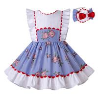ingrosso vestiti blu da promenade dei bambini-Pettigirl Summer Blue Rose Stripe stampato abiti da ragazza di design Wedding Party Princess Dress Prom bambini vestiti Boutique abbigliamento G-DMGD203-66