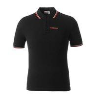 tasarlanmış polo gömlekler toptan satış-Erkek Marka Tasarımcısı Casual POLO Gömlek Basit Moda Gündelik Eşleştirme Çizgili Manşet Klasik Çift Toka Tasarım 100% Pamuk Nefes