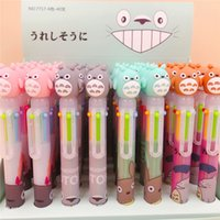 Wholesale plastic ball head resale online - Cute Ball Pen Totoro Silicone Head Cartoon Colors Chunky Ballpoint Pen School Office Supply Gift Stationery