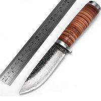 cuchilla de damasco 59hrc cuchillo al por mayor-Cuchillo de caza con cuchilla fija hecha a mano de acero de Damasco cuchilla que acampa 58HRC mango herramienta de supervivencia táctica de cuero