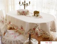 cubierta de la silla de comedor mantel al por mayor-Al por mayor-moda elíptica mantel oval mesa de comedor tela cubierta de la silla fundas para sillas tela de mantel de forma ovalada cadaha de mesa