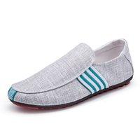 zapatos de lona de negocios informal al por mayor-Hombres hechos a mano lienzo Mocasines Hombre de lujo Zapatos de negocios Zapatos casuales masculinos Conducción Deslizamiento suave en mocasines Pisos