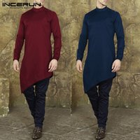fd591d962b37 wholesale Indian Vintage Mens Shirts Long Sleeve Autumn Male Dress Loose Shirts  Kaftan Camisas Kurta Muslim Islamic Clothing