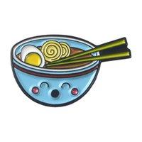 ingrosso perno giapponese-Spille in smalto Ramen stile giapponese Smile Noodle Distintivi Spille personalizzate Pastel Bavero Camicia in Denim Cartoon Food Jewelry Gift