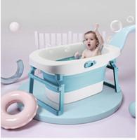 plástico para crianças venda por atacado-BabyTubs Personalidade Banheira Folding Bath barril de plástico antiderrapante dobrável Crianças Bath Barrel Grande