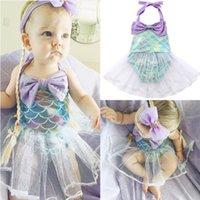 bebek mermaid karikatür toptan satış-Prenses Bebek Kız Mermaid Romper Elbise Çocuk Kız Karikatür Bikini Mayo Mayo Kostüm Yürüyor Yaz Beachwear