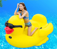 Wholesale swimming pool toys boats resale online - 220cm inflatable yellow duck mattress swim pool floating island boat large sizes swan floats floating aniaml shape water bed beach toys