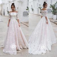Wholesale removable off shoulder wedding dress resale online - 2020 Naviblue Baby Pink Half Sleeves Wedding Dresses With Removable Jacket Bridal Dress Lace Applique Plus Size Wedding Gowns