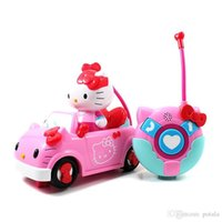 Wholesale rubber rc motor resale online - 1PC Hellokitty Remote Control CH RC Car Electric Toys Cute Hello Kitty Funny kids Toys Party Radio Racing Controlled Cars KT Cat Vehicle