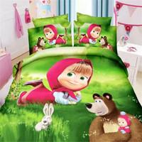 Wholesale pillowcase children bedding for sale - Group buy Home Textile Little Red Riding Hood Bedding Set Cartoon Polyester Bed Linen for Children Boys Duvet Cover Flat Sheet Pillowcases Y200111