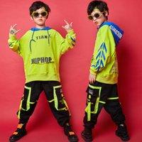 erkek gündelik gömlek giymek toptan satış-Erkek Caz Dans Kostüm Balo Dans Giyim Sahne Giyim SL2025 için Kid Hip Hop Giyim Casual Gömlek Hoodie En eşofman