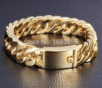 ingrosso catena 24k mens-Braccialetto a catena cubano di Curb dell'acciaio inossidabile dei monili degli uomini dell'oro di Mens di alta qualità di 8.5g