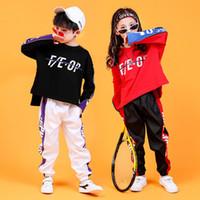 erkek gündelik gömlek giymek toptan satış-Çocuk Hip Hop Giyim Kazak Gömlek Kız Erkek Caz Dans Kostüm Balo Salonu için Rahat Pantolon Tops Dans Giysileri Gevşek Giymek