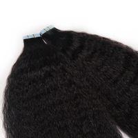 человеческие волосы курчавого коричневого выдвижения оптовых-Невидимый Реми кудрявый вьющиеся кожи утка ленты в человеческих волос расширения девственные волосы черный коричневый блондинка 100 г двусторонняя лента на волосах 14