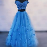Wholesale pink lace skirt top online - Blue Two Pieces Prom Dresses Lace Top And Tulle Long Skirt Evening Gowns Floor Length Cocktail Party Dress Cheap
