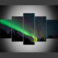 Wholesale purple oil art painting for sale - Group buy 5 Piece Large Size Canvas Wall Art Pictures Creative Aurora Blue and Purple Sky Art Print Oil Painting for Living Room Home Decor