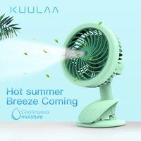sis püskürtme elektrikli fan toptan satış-KUULAA Taşınabilir Su Sprey Sis Fan Elektrikli USB Şarj Edilebilir El Mini Fan Açık Klima için Klima Nemlendirici