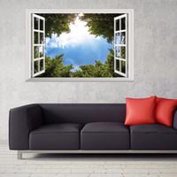 ingrosso 3d finta finestra-3D False Window Screens Alberi Sky Wall Stickers Home Decor Soggiorno Art Mural Vinile Rimovibile Finto Window View Poster Decalcomanie