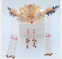 chinese headwear groihandel-Headwear neue chinesische Hochzeitskleid Phoenix Crown Haarschmuck Retro-alte Hochzeit atmosphärischen Drachen und Phoenix Wear Zubehör